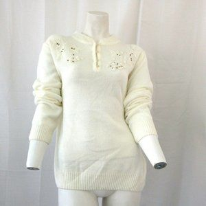 Adrian Delafield For Haband White Sweater Large